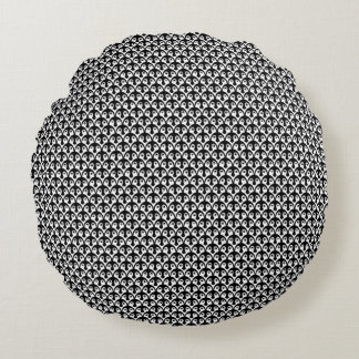 Little Penguin Chicks Black and White Pattern Round Cushion