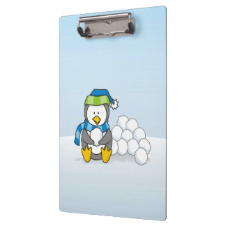 Little penguin sitting with snowballs clipboard
