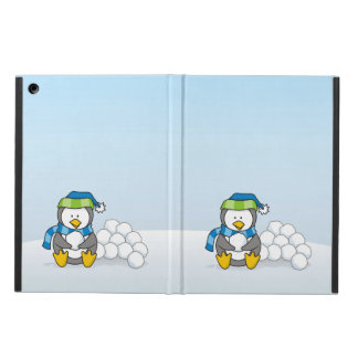 Little penguin sitting with snowballs cover for iPad air