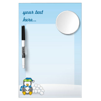 Little penguin sitting with snowballs dry erase board with mirror