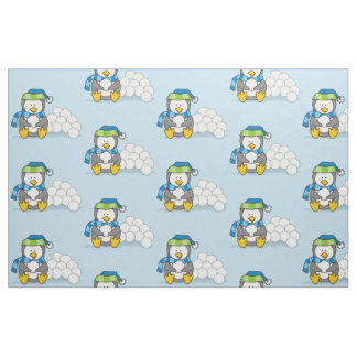 Little penguin sitting with snowballs fabric