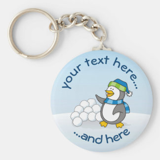 Little penguin with snow balls waving basic round button key ring