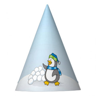 Little penguin with snow balls waving party hat
