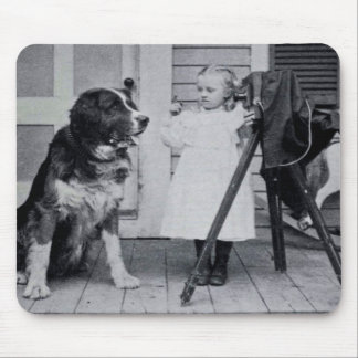 Little Photographer and Her St. Bernard Vintage Mouse Pad