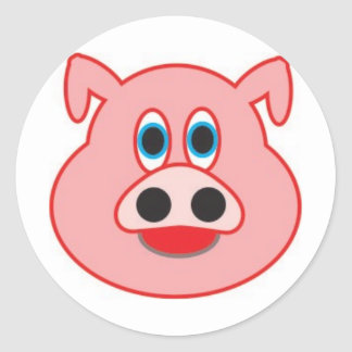 Little pig didactic illustration drawing pedagógic round sticker