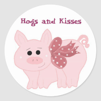 Little Piggy Hogs and Kisses Classic Round Sticker