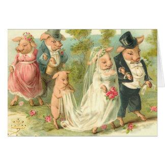 Little Piggy Wedding Greeting Card