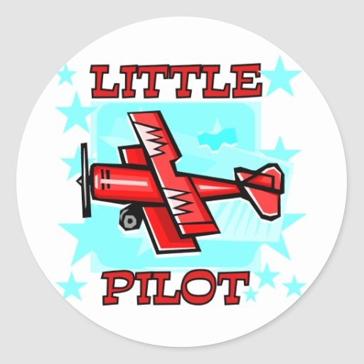Little Pilot Tshirts and Gifts Round Stickers