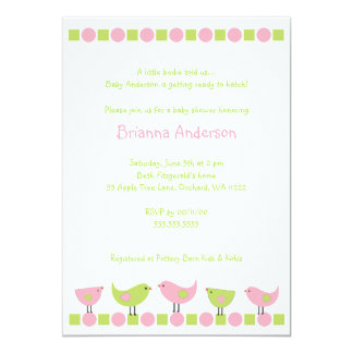 Little Pink and Green Birds Baby Shower Invite