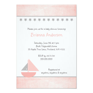 Little Pink and Grey Sailboat Baby Shower Invite
