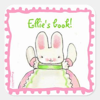 Little Pink Bunny bookplate Square Sticker