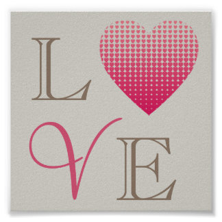 Little pink hearts Love red grey background Poster