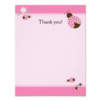Little Pink Ladybugs Flat Matte Thank you note 11 Cm X 14 Cm Invitation Card