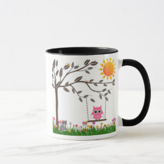 Little Pink Owl Swinging On a Tree Branch Mug