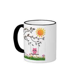 Little Pink Owl Swinging On a Tree Branch Coffee Mug