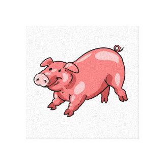 little pink pig funny cartoon canvas print