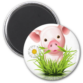Little pink pig in grass magnets