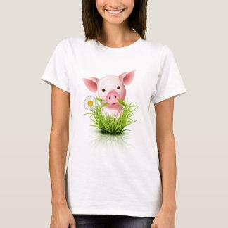 Little pink pig in grass T-Shirt