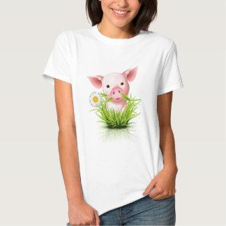 Little pink pig in grass tshirt