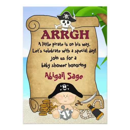 little pirate baby shower invitation for boys 13 cm x 18 cm invitation