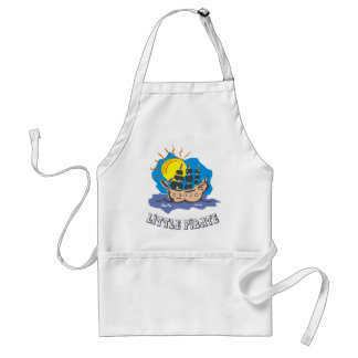 Little pirate toddler on a sailboat on the sea aprons