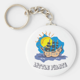 Little pirate toddler on a sailboat on the sea basic round button key ring