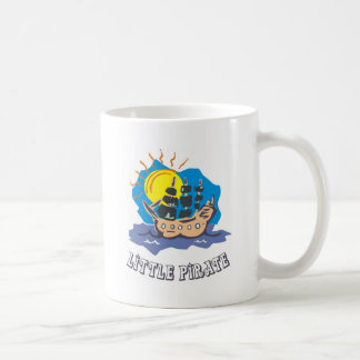 Little pirate toddler on a sailboat on the sea basic white mug