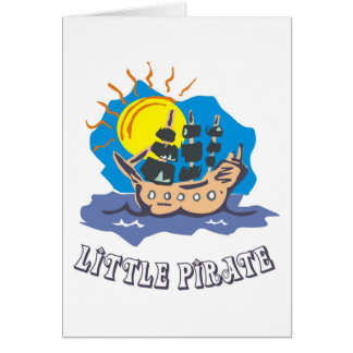 Little pirate toddler on a sailboat on the sea greeting card
