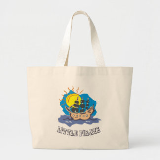 Little pirate toddler on a sailboat on the sea jumbo tote bag