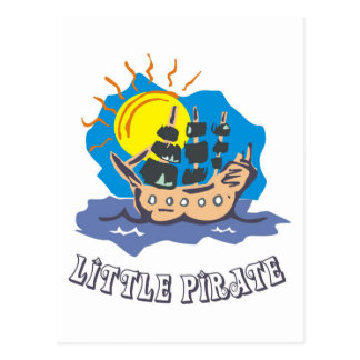 Little pirate toddler on a sailboat on the sea postcard