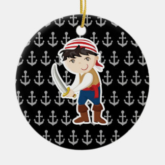 Little pirate with anchor ceramic ornament