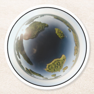 Little planet lake round paper coaster
