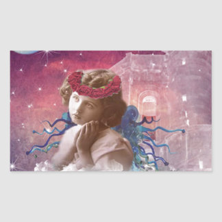 Little Praying Angel Rectangular Sticker