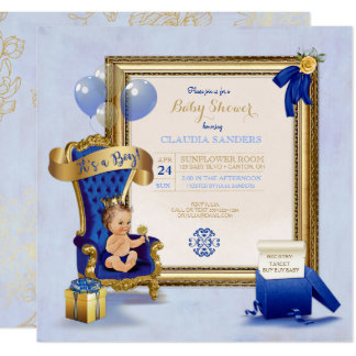 Little Prince Baby Boy Gold Crown Royal Blue Card