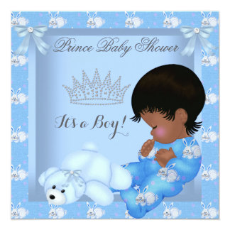 "Little Prince Baby Shower Boy Blue Bunny AM 5.25"" Square Invitation Card"