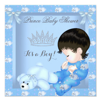 "Little Prince Baby Shower Boy Blue Bunny 5.25"" Square Invitation Card"