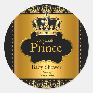Little Prince Baby Shower Boy Crown Black Gold Round Sticker