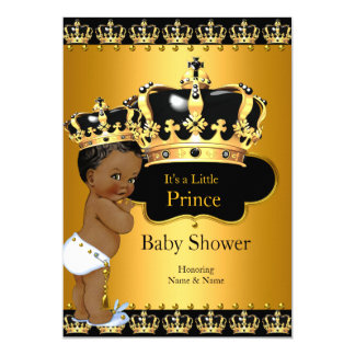 Little Prince Baby Shower Boy Crown Ethnic 13 Cm X 18 Cm Invitation Card