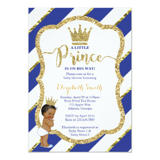 Little Prince Baby Shower Invite, Faux Glitter Card