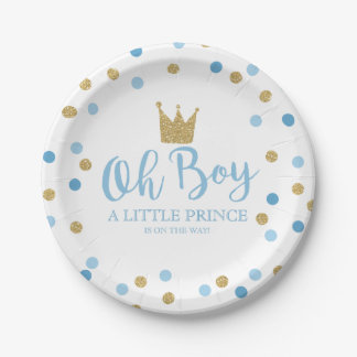 """Little Prince Baby Shower Paper Plate 7"""""""