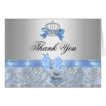 Little Prince Crown Baby Shower Thank You Card