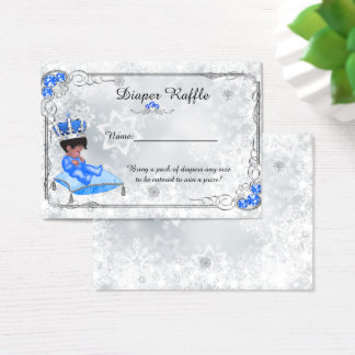 Little Prince Diaper Raffle Tickets, grey frozen Business Card