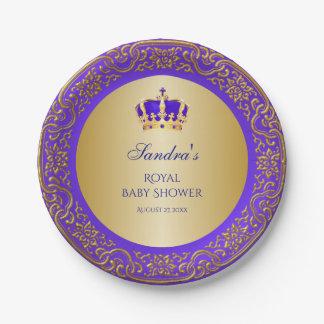 Little Prince Royal Purple Gold Crown Paper Plate