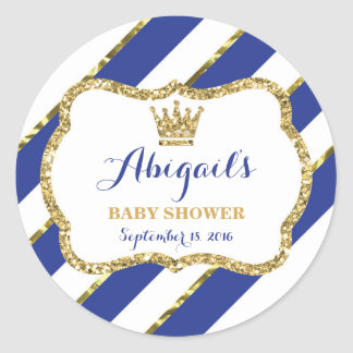 Little Prince Sticker, Royal Blue Faux Glitter Round Sticker