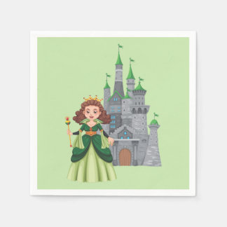 Little Princess and Castle in Green Paper Napkins