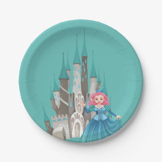 Little Princess and Castle in Turquoise 7 Inch Paper Plate
