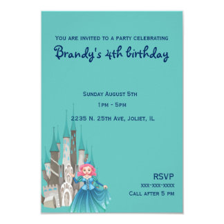 Little Princess and Castle in Turquoise Birthday Card