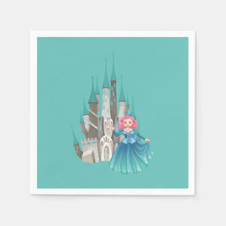 Little Princess and Castle in Turquoise Paper Serviettes