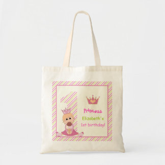 Little princess and crown girls 1st birthday pink tote bag