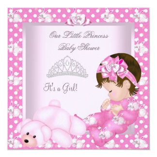 """Little Princess Baby Shower Girl Pink Bunnies 5.25"""" Square Invitation Card"""
